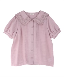Lace Collar Wraparound Button Blouse(Pale pink-Free)