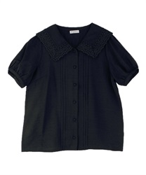 Lace Collar Wraparound Button Blouse(Black-Free)