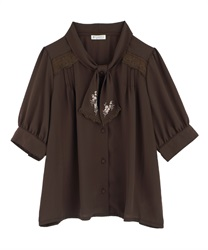 【2Buy20%OFF】Flower Embroidery Bowtie Short Sleeve Blouse(Brown-Free)
