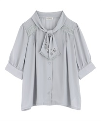 【2Buy20%OFF】Flower Embroidery Bowtie Short Sleeve Blouse(Grey-Free)