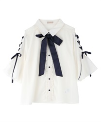 【2Buy20%OFF】Sleeve lace up blouse(Ecru-Free)