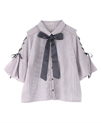 【2Buy20%OFF】Sleeve lace up blouse(Pale pink-Free)
