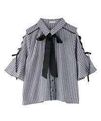 【2Buy20%OFF】Sleeve lace up blouse(Black-Free)