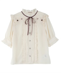 Rolled Rose Design Blouse(Beige-Free)