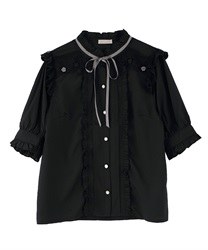 Rolled Rose Design Blouse(Black-Free)