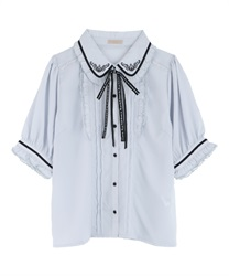 Message Ribbon Blouse(Saxe blue-Free)