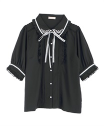 Message Ribbon Blouse(Black-Free)