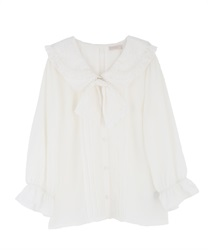 Double collar blouse with ribbon(Ecru-Free)