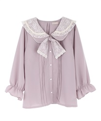 Double collar blouse with ribbon(Pale pink-Free)