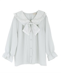 Double collar blouse with ribbon(Saxe blue-Free)