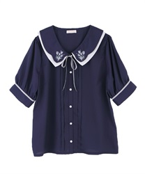 Tulips bouquet embroidery blouse(Navy-Free)
