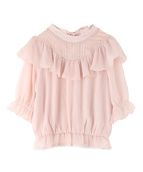 Back Bow Ruffle Blouse(Pale pink-Free)
