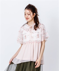 Tulle Embroidery Long Shirt(Pale pink-Free)
