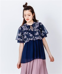 Tulle Embroidery Long Shirt(Navy-Free)