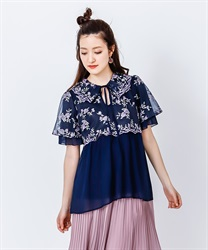 Tulle Embroidery Long Shirt