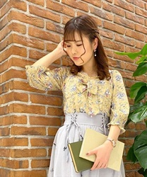 Flower pattern Bustier blouse(Yellow-Free)