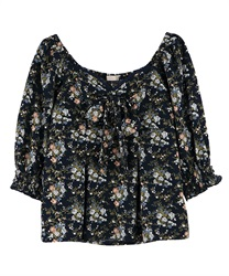 Flower pattern Bustier blouse(Navy-Free)