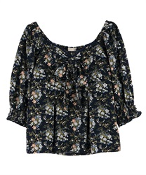 Flower pattern Bustier blouse