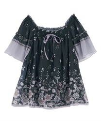 Anemone Pattern Piping Blouse(Navy-Free)