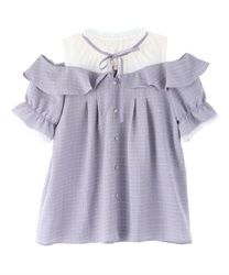 Plaid blouse with open shoulders(Lavender-Free)