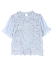 Lace blouse(Saxe blue-Free)