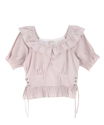 Cotton Lace Blouse(Pale pink-Free)