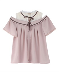 Collar Design Shoulder Opening Blouse(Pale pink-Free)