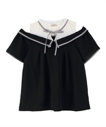 Collar Design Shoulder Opening Blouse(Black-Free)
