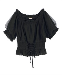 Sheer stripe blouse(Black-Free)