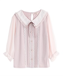 【2Buy20%OFF】Ruffle Blouse Cut PO(Pale pink-Free)