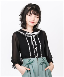 Ruffle Blouse Cut PO(Black-Free)