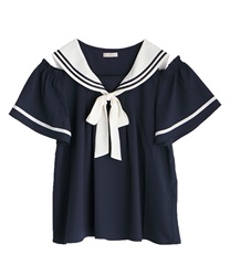 Sailor open shoulder blouse(Navy-Free)
