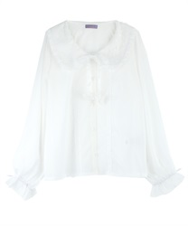 Lacey Round Collar Blouse with Ribbon Butterfly Pach(White-M)