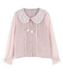 Lacey Round Collar Blouse with Ribbon Butterfly Pach(Pale pink-M)