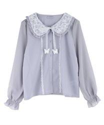 Lacey Round Collar Blouse with Ribbon Butterfly Pach(Saxe blue-M)