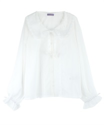 Lacey Round Collar Blouse with Ribbon Butterfly Pach