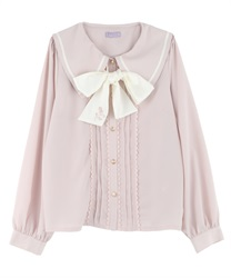 Rose embroidery blouses(Pale pink-Free)