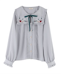 "Fruit Embroidery Sailor Collar Blouse with ""Removable Ribbon""(Grey-Free)"