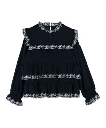 Embroidery Tiered Blouse(Navy-Free)