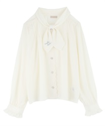 Message Embroidery Bowtie Blouse(Ecru-M)