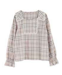 Plaid blocking blouse(Beige-Free)