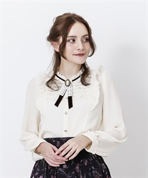 Vintage blouse with brooch(Ecru-M)