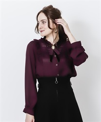 Vintage blouse with brooch(Wine-M)