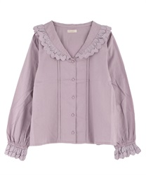 Cotton lace sailor blouse(Pale pink-Free)