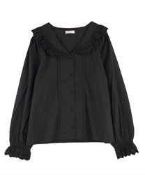 Cotton lace sailor blouse(Black-Free)