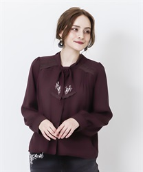 Bowtie blouse with embroidery(Wine-Free)
