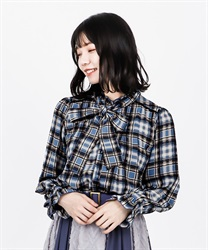 Check bowtie blouse(Blue-Free)