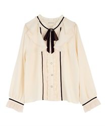 Frilled ribbon blouse(Ecru-Free)