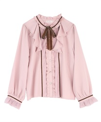 Frilled ribbon blouse(Pale pink-Free)