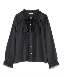 Frilled ribbon blouse(Black-Free)